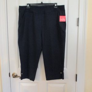 NWT - CORAL BAY Navy blue knit Capri pants - sz 2X